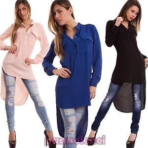 Maglia-donna-lunga-velata-elegante-trasparente-coda-camicia-tunica-nuova-CC-1205