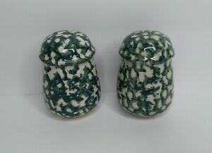 Tienshan Folkcraft Moose Country Salt & Peppers Shaker Set Apple Green Sponge