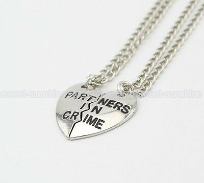 Celebrity Best Friends Partners Heart in Crime Letter Statement  Necklace Choker