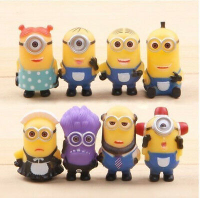 8pcs Cute Despicable Me 2 Minions Movie Character Movie Action Figures Toys Sets