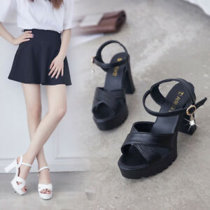 Ladies-Women-Fish-Mouth-Platform-High-Heels-Wedges-Sandals-Buckle-Slope-Sandals
