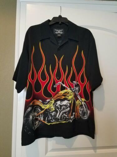 L Shirt Op MotorfietsVlammen W Maat Nwt Eagle Bk Chrome Zwart Frt NnO80vmw