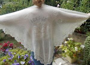 Humoristique Chale Crochet Fait Main Sylvette Raisonnier Artisanat Francais Ecru Tres Clair Brillant