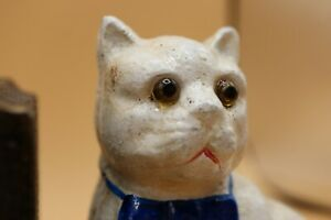VINTAGE-HEAVY-CAST-IRON-WHITE-CAT-BOOK-ENDS