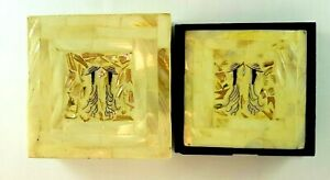 Drink-Coasters-Mother-of-Pearl-and-Abalone-Boxed-Set-of-6-Handcrafted-Barware