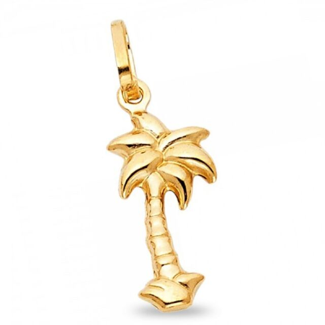 Palm Tree Pendant Solid 14k Yellow Gold Charm Quality Shiny Finish Small