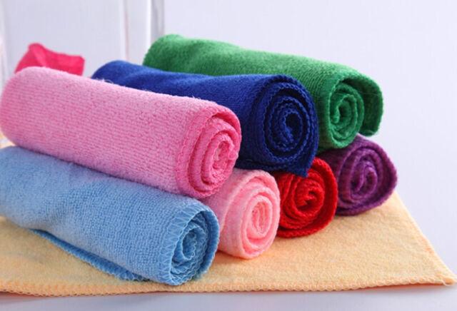 10Pcs Mixed Color Microfiber Car Cleaning Towel Kitchen Washing Polishing Cloth