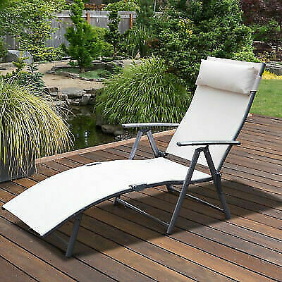 Strange Outsunny Sling Fabric Patio Reclining Chaise Lounge Garden Furniture Folding For Sale Online Ebay Evergreenethics Interior Chair Design Evergreenethicsorg