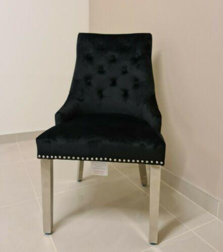 Chelsea Lion Knocker Back Chair Luxury Brushed Velvet Dining Chair in Black