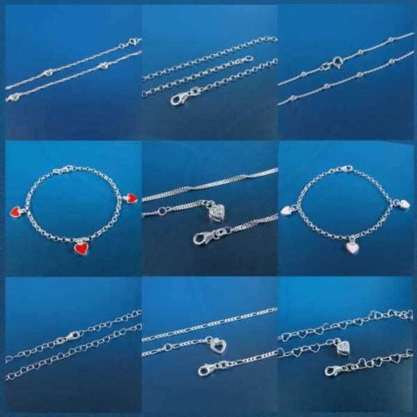 925 Silber Armband Armkette Oder Fußkette Fußkettchen Mit Und Ohne Herz Charm