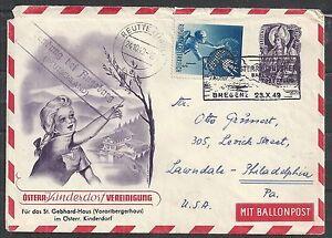 Austria covers 1949 Kinderdorf BALLONcover Bregenz to Philadelphia
