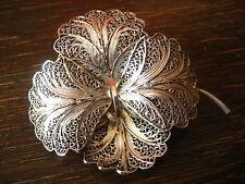hauchfeine Jugendstil Brosche Orchidee Vanda Blüte Filigranarbeit 835er Silber