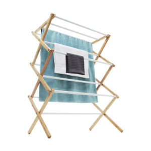 Airer Bamboo Frame Clothes Foldable Dryer Towel Hanger Rail Rack Line Laundry