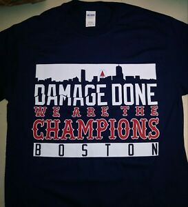 on sale 7a065 9fd33 Details about * BOSTON RED SOX 2018 WORLD SERIES Champs shirt - DAMAGE DONE  - Skyline NEW *