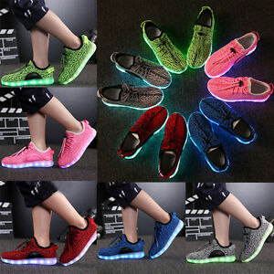 Children-Boys-Girls-7-Colors-LED-Light-Up-Luminous-sneakers-Unisex-Casual-Shoes