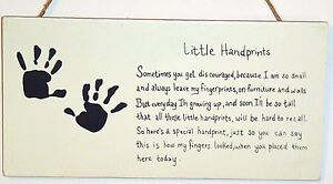 Child-Poem-LITTLE-HAND-PRINTS-Mom-Gift-wood-Plaque-New