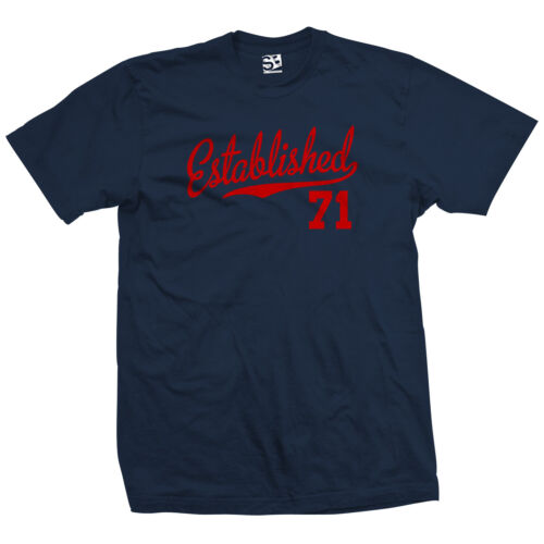 Established 71 Script Tail Shirt 1971 46 46th Birthday Anniversary All Colors