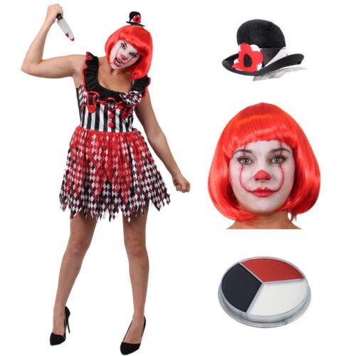 LADIES WOMENS CLOWN KILLER HARLEQUIN HALLOWEEN FANCY DRESS COSTUME S M L XL HAT