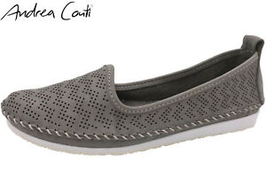 wholesale dealer 9a14c b3d26 Details zu Andrea Conti Damen Slipper Echt Leder Grau Schuhe Ballerina NEU  0025717-031