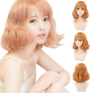 Cosplay Women Blonde Wig Short Wavy Curly Hair Wigs With Bangs Full Wigs Party Ebay