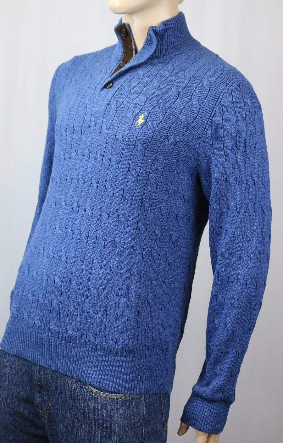 POLO Ralph Lauren Blau 1/2 Half Zip Silk Sweater Gelb Pony NWT 145