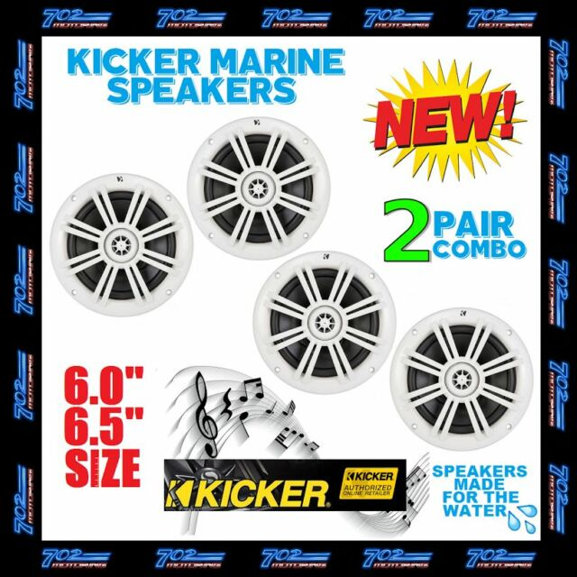 2 PAIRS OF KICKER KM6204W KM6204W BKM60 BKM604W MARINE & BOAT SPEAKERS 6.5 INCH