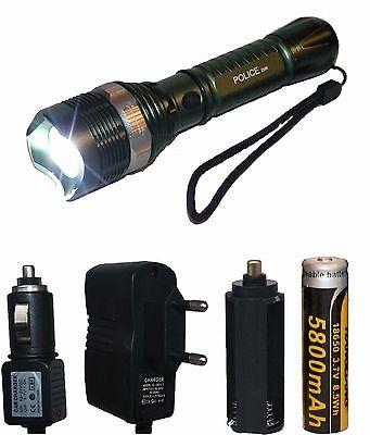 Swat CREE LED 200 Lumen Taschenlampe inkl Akku 5800mAh mit Haus-KFZ Ladegerät (2