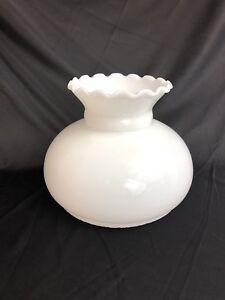Vtg-White-Milk-Glass-Fluted-Lamp-Shade-Student-Oil-Kerosene-Hurricane-7-034-Fitter
