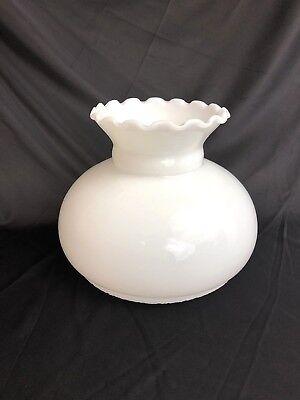 """7/"""" Fitter White Milk Glass Lamp Shade Student Hurricane Oil Kerosene"""