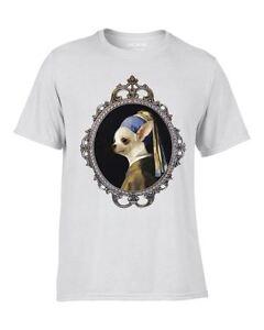 Le Chihuahua With The Pearl Earring T-shirt Imprimé Drôle Nouveauté Peinture Chien-afficher Le Titre D'origine