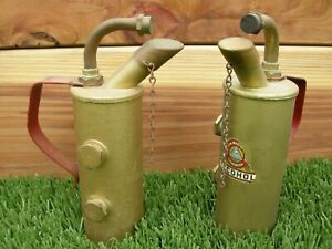Vintage-2-Old-Alcohol-Brass-Blow-Torch-Link-Products-Decal-Red-Handle-Blowtorch
