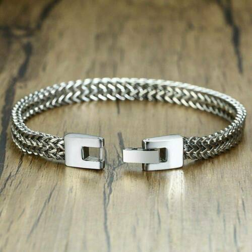 Elegant Men Male Stainless Steel Double Link Chain Wrist Solid Jewelry Bracelet