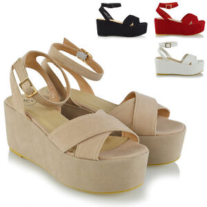 Womens-Strappy-Wedge-Heel-Sandals-Ladies-Platform-Shoes-Size-3-8
