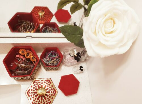 Moroccan Arabesque Hexagone Colorful Organizer// Traditional Vintage Handmade Box