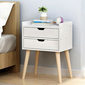 End Side Tables Nightstand With 2 Storage Drawers Living Room