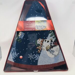 Hallmark-Light-Up-Snowman-Tree-Skirt-Fiber-Optic-Lights-45-034-Artist-Collection