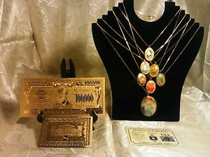 FREE-S-amp-H-MIXED-LOT-7Pc-RETRO-CAB-NECKLACE-KITS-GOLD-100K-Banknote-W-COA-MORE-x