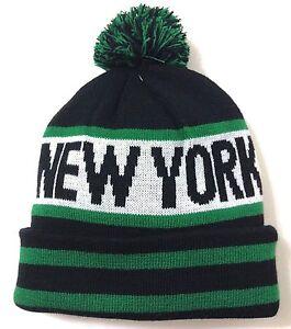 3fae02a29bf71 NEW YORK POM BEANIE Jets Colors Black Green White Winter Knit Ski ...