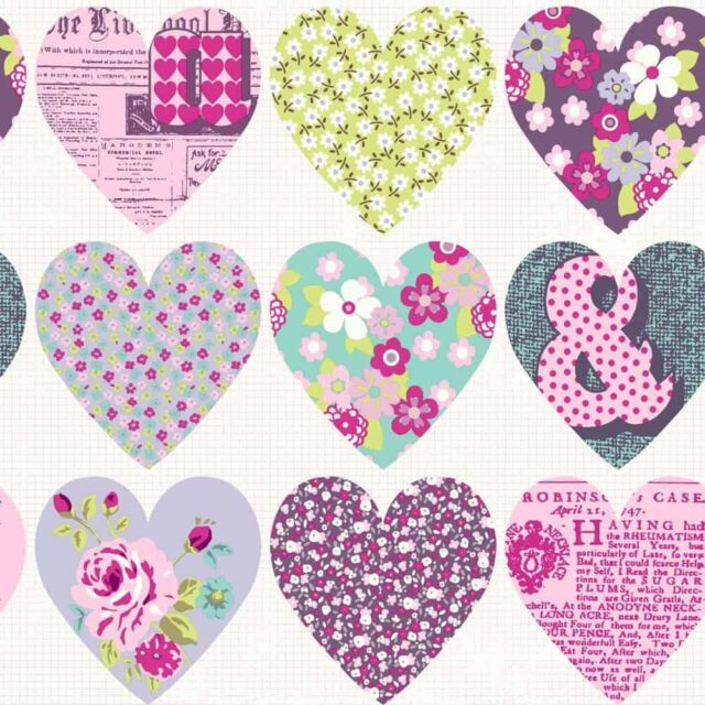 PURPLE PATCHWORK FLOWERS LOVE HEARTS GIRLS QUALITY ARTHOUSE WALLPAPER 668501