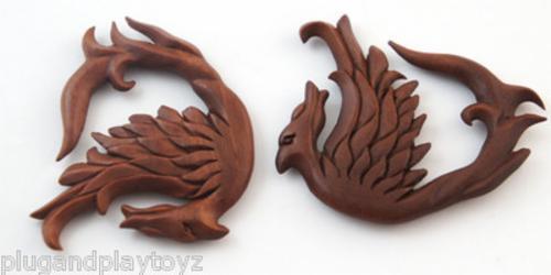 Pair Carved Nerd Geek Ear Plugs Wood Hand Made Organic Earrings Gauges Tunnels