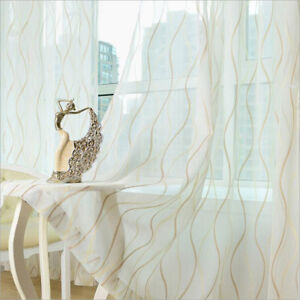 Beige-Golden-Blue-Striped-Window-Sheers-Simple-Room-Voile-Curtains-Tulle-Drapes