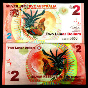 Australia 2 Lunar Dollars Silver Reserve 2017 World Paper Money UNC Currency