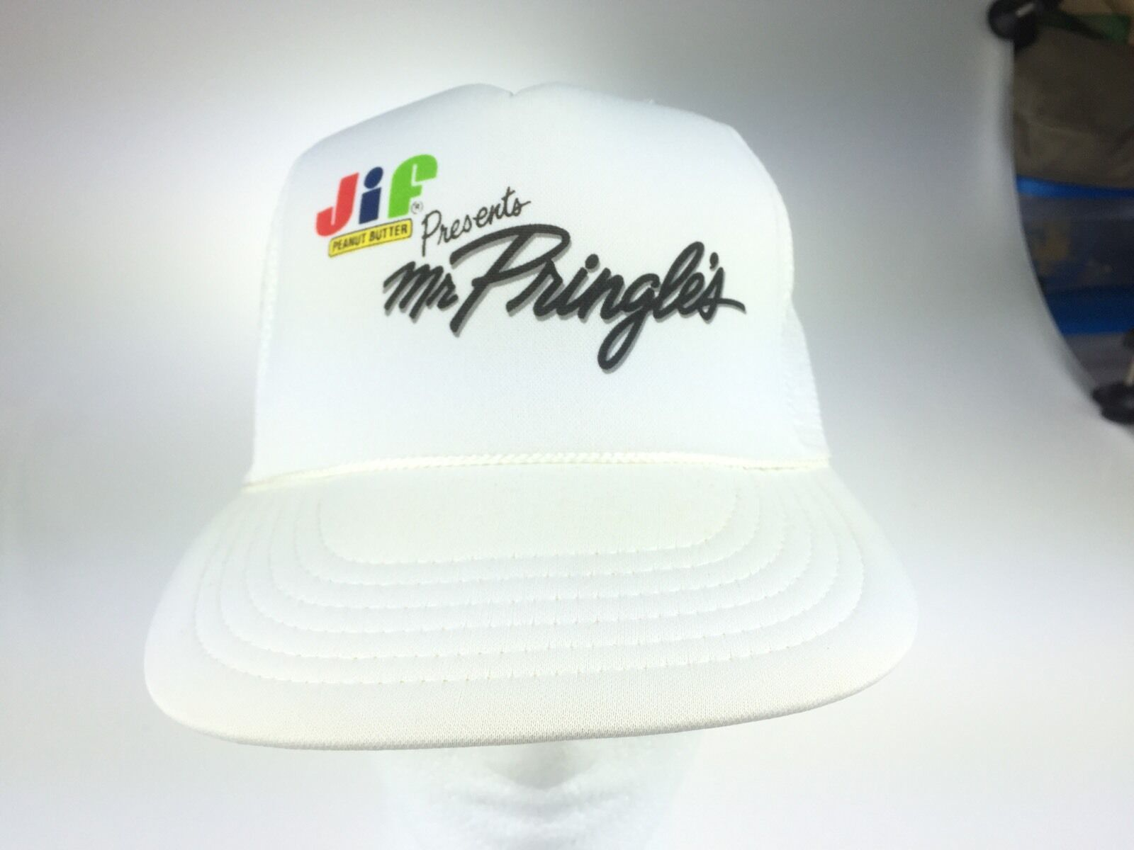 Jif Presents Mr Pringles White Trucker SnapBack Hat Cap White Pringles Mesh e64edc
