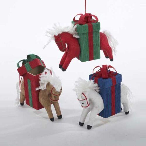 Horse w//Gift Box Ornament
