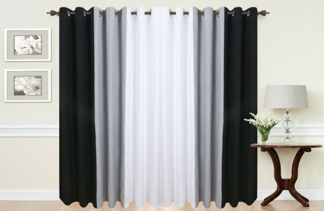 PAIR OF 3 TONE FULLY LINED RING TOP EYELET CURTAINS IN WHITE/BLACK/GREY