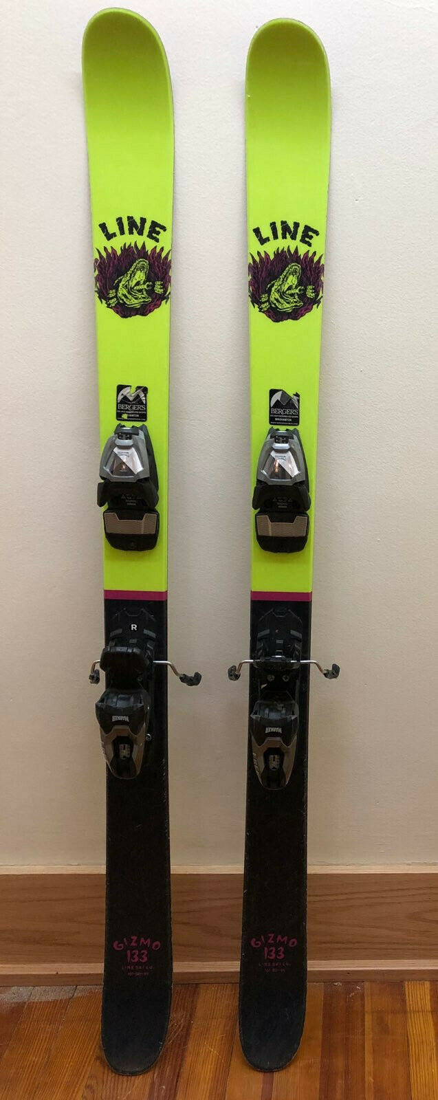 GENTLY USED LINE GIZMO  SKIS SIZE  133  WITH MARKER FREE 8 BINDINGS  high quaity