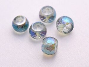 10pcs-12mm-Drum-Faceted-Rondelle-Crystal-Glass-Loose-Beads-Transparent-Green