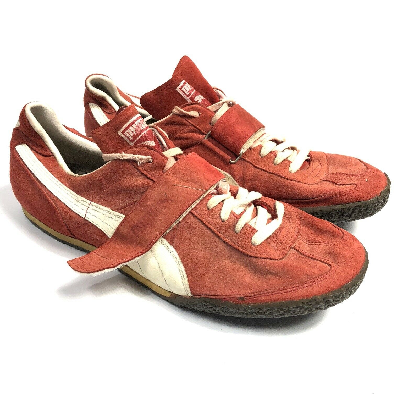 VTG - Puma Red Suede Leather Hook and Loop Athletic shoes - Men's Size 12