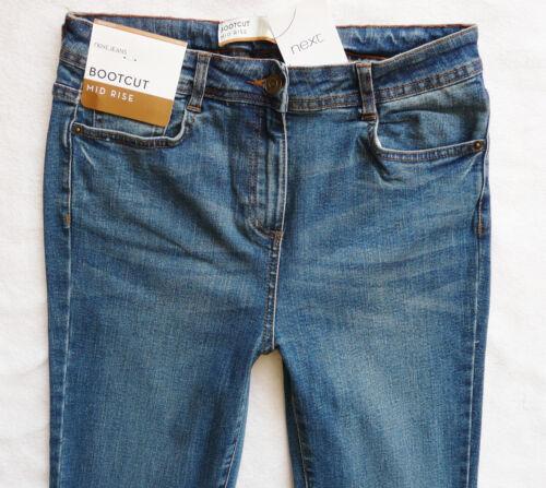 BNWT NEXT Ladies Slim bootcut bootleg  mid blue mid rise stretch jeans R L XL
