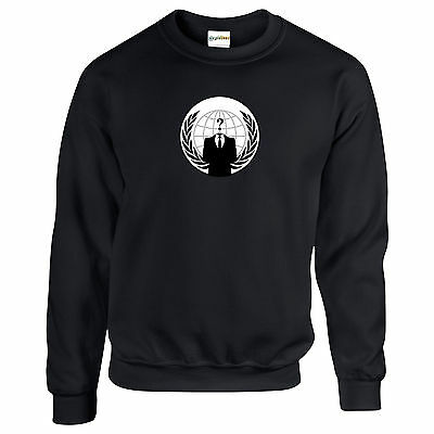 Anonymous Anarchy Emblem SWEATSHIRT Anti Government Corruption Rebel up to 5XL